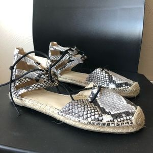 marc fisher snake lace up flats